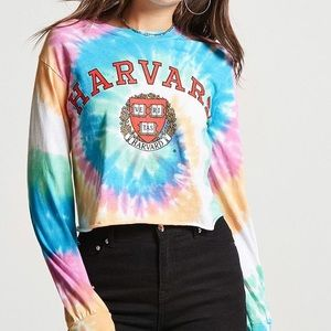Harvard tie dye cropped long sleeve